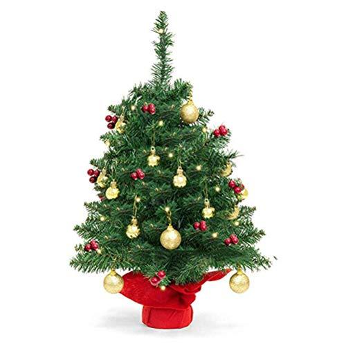Tianbi Árbol de Navidad de Mesa Mini Árbol de Navidad Artificial con Luces de Cadena Led Adornos de Bolas Y Base Adornos de Escritorio Decoración del Hogar