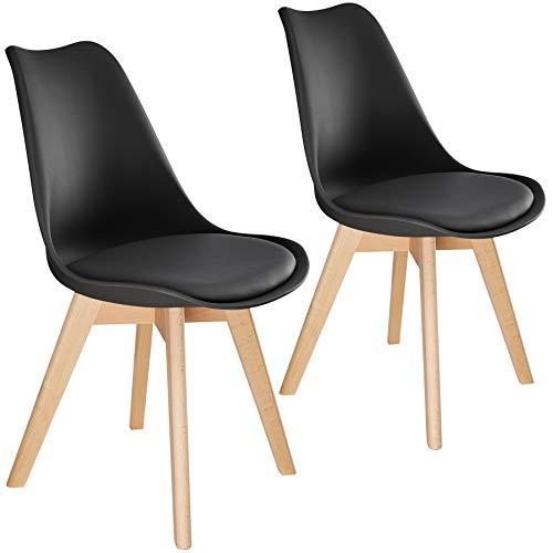 TecTake 800852 Lot de 2 Chaises de Salle à Manger Style Scandinave Mobilier d´Intérieur Pieds Bois Massif Design Moderne – Diverses Couleurs (Noir)