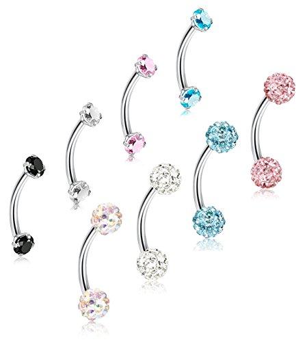 ORAZIO 8Pcs 16G Stainless Steel Eyebrow Ear Navel Belly Lip Ring Body Piercing Jewelry 8mm