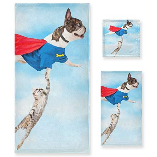 Juego de Toallas de baño de Lujo de algodón de 3 Piezas para Mujeres, Hombres, baño, Cocina, 1 Toalla de baño, 1 Toallas de Mano, 1 toallitas-Flying Super Hero Dog Cat