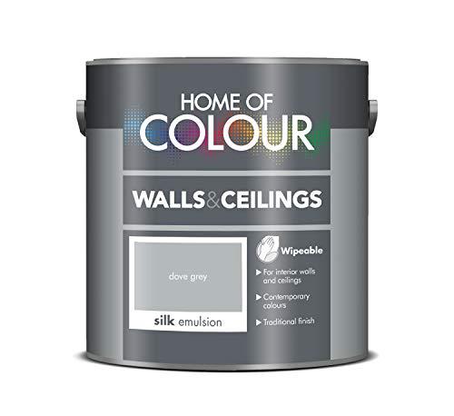 Home of Colour 309903 Walls and Ceilings Silk Emulsion Seidenemulsion für Wände und Decken, taubengrau, 2,5 l
