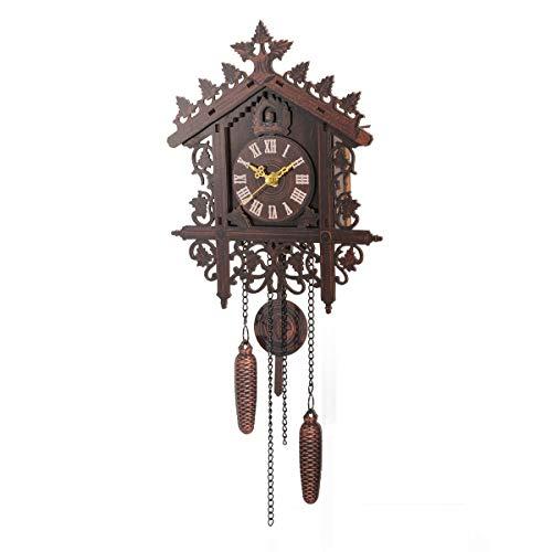 AIRUYI Estilo Retro Estilo Cuco Pared Reloj Arte montado en la Pared Cuco Reloj Numero Romano Artesanal Reloj de Pared Vintage decoración del hogar (Color : B)