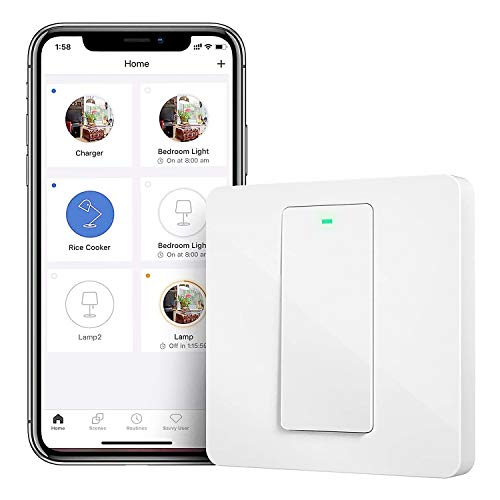 Interruptor de Pared Wi-Fi, 1 Vía, 1 Canal. Compatible con Alexa, Asistente de Google y SmartThings. meross MSS510X. (Se Requiere un Cable Neutral al Instalar)