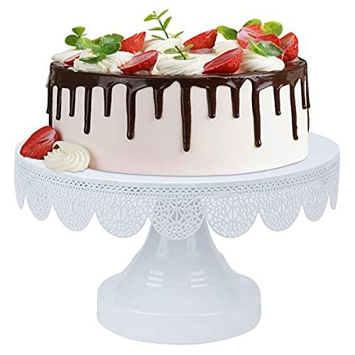 Optyuwah Tortenplatte mit Fuß, Tortenständer / Kuchenständer Weiß - Ø 25cm Cupcake Halter Servierständer , Dessert Tortenteller Kuchenteller für Desserttisch Hochzeit Party Nachmittagstee