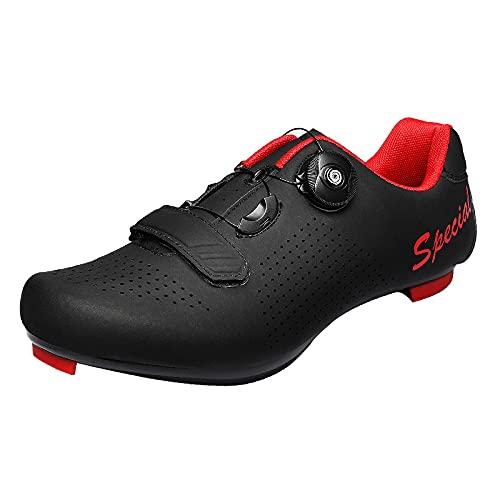 CHUIKUAJ Zapatillas de Ciclismo Hombre Mujer Zapatillas de Ciclismo de Carretera Zapatillas de Pelotón Calzado Transpirable Compatible SPD Look,Black-46EU