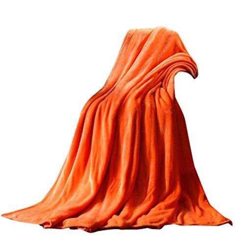 OVERDOSE Super Weiche Wärme Solide Microplush Fleece Decke Wurf Wolldecke Schlafsofa Fleece Blanket (50 * 70cm, A-Orange)