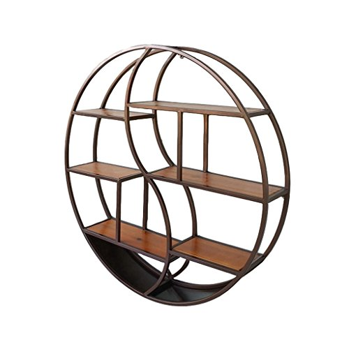 Étagère à cadre Rond Étagères Murales en bois et métal fer Salon Bar   LOFT Cube Étagères Flottantes pour chambre Bureau ou Cuisine unité décoration vintage industrie Style