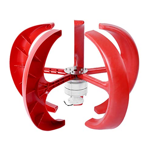 Ejoyous Wind Turbine Generator Kit, 600W DC12V Vertical Wind Power Generator 5 Blades Lantern Wind Turbine Motor Electricity Producer Equipment for Hybrid Wind Solar System, Red