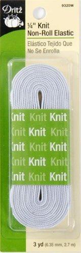 Dritz 9320W Élastique en tricot non enroulé Blanc, 6,35 mm
