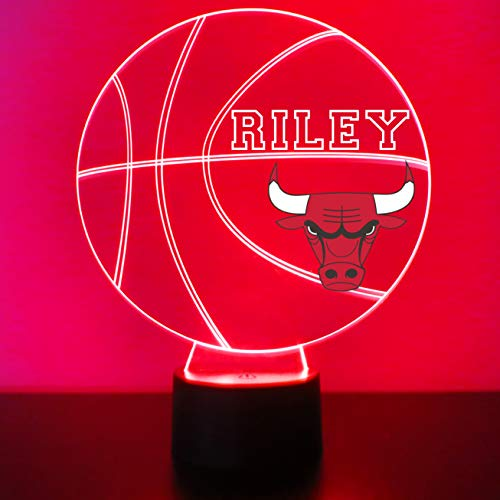 Mirror Magic Store Bulls Basketball Sports Fan Lamp/Night Light - LED - Personalize for Free - Featuring Licensed Decal