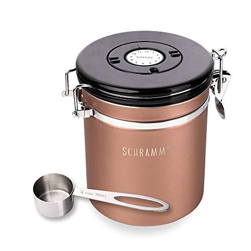 Schramm® Kaffeedose 1500 ml in 10 Farben mit Dosierlöffel Höhe: 15cm Kaffeedosen Kaffeebehälter aus Edelstahl, Farbe:Bronze