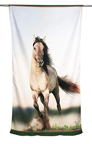 tex family strandlaken van badstof paarden in de racesport grootte 90 x 170 cm
