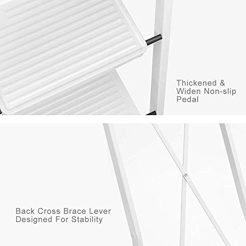 Delxo 3 Step Ladder Folding Step Stool Ladder with Handgrip Anti-Slip Sturdy and Wide Pedal Multi-Use for Household and Office Portable Step Stool Steel 300lbs White (3 feet)