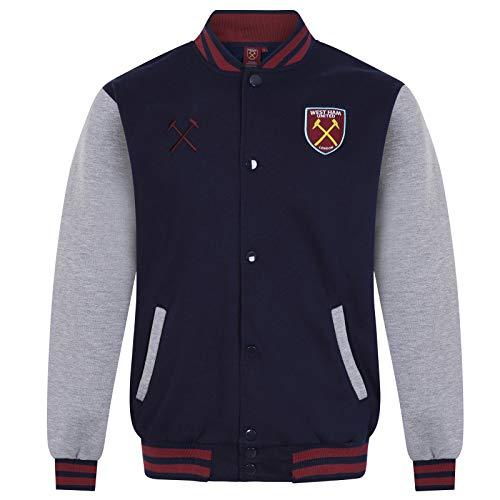 West Ham United FC - Herren College-Jacke im Retro-Design - Offizielles Merchandise - Geschenk für Fußballfans - Dunkelblau - L