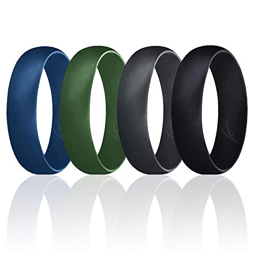 ROQ Silicone Wedding Ring for Men, Set of 4 Affordable Comfort Fit 6mm Manly Metallic Silicone Rubber Wedding Bands - Black, Olive, Blue, Grey- Size 8