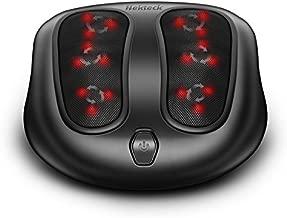 Nekteck Foot Massager with Heat, Shiatsu Heated Elecric Keading Foot Massager Machine for Planter Fasciitis, Built in Infrared Heat Function and Power Cord - Black