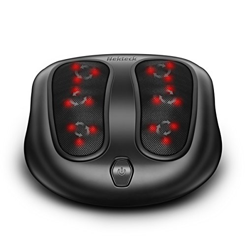 Nekteck Foot Massager with Heat, Shiatsu Heated Elecric Keading Foot Massager Machine for Planter Fasciitis, Built in Infrared Heat Function and Power Cord