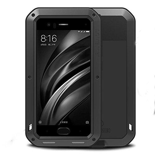 LOVE MEI Xiaomi Mi 6 Shockproof Funda, Metal Aluminio Cover Extreme Alta Resistencia Protector Military Heavy Duty Carcasa con Cristal de Gorila para Xiaomi Mi6 (Negro)