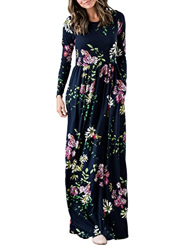 ZESICA Women's Floral Print Long Sleeve Pockets Empire Waist Pleated Long Maxi Dress Navy
