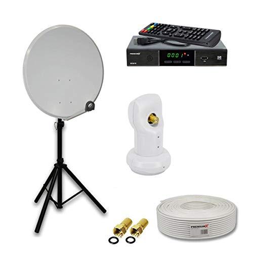 PremiumX Camping komplett SAT Anlage Set 60cm Hellgrau Antenne Single LNB Dreibein Stativ TV-Kabel DVB-S2 Satelliten Receiver