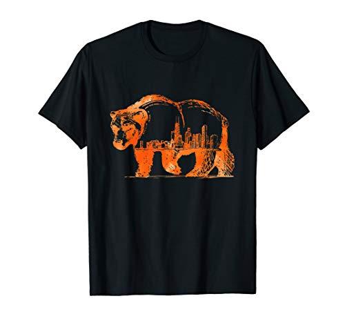 Downtown Chicago City Skyline Walking Bear Silhouette Gift T-Shirt