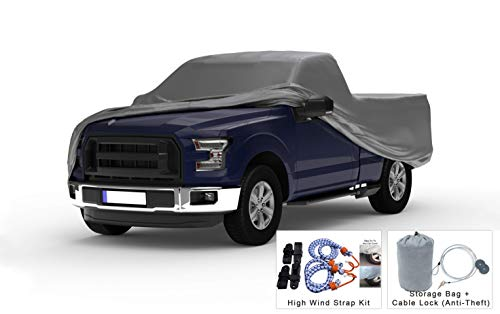 Weatherproof Truck Cover Compatible with 1953-1956 Ford F-100 & F-250 Regular Cab~6.5 Ft Bed - 5L Outdoor & Indoor - Protect from Rain, Snow, Hail, Sun - Theft Cable Lock, Bag & Wind Straps