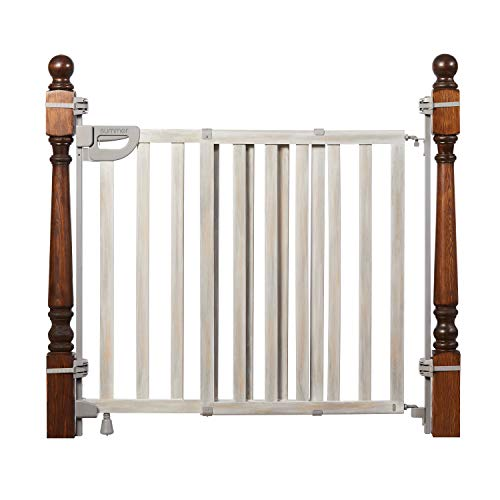"""Summer Wood Banister and Stair Safety Baby Gate Birch Stain with Gray Accents – 33"""" Tall Fits Openings of 33"""" to 46"""" Wide ExtraWide Door Opens Full Width of Stairway Convenient Baby and Pet Gate"""