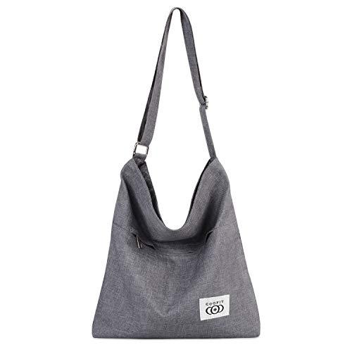 Coofit Stripe Leisure Canvas Top Handle Cross Body Bag Tote Handbags for Women Model A