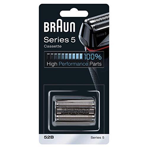 Braun Testina di Ricambio Rasoio da Barba Elettrico 52B Nero, Compatibile con i Rasoi Series 5, per una Rasatura Ottima ogni Giorno, Sostituire ogni 18 Mesi