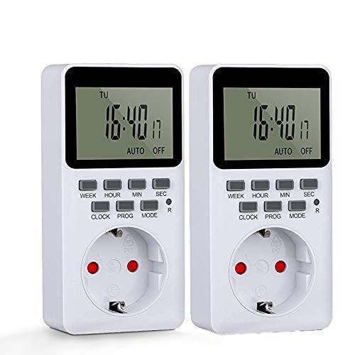 Toma programable,2pcs Temporizador Digital de ahorro de energía,programable temporizador electrónico con gran pantalla LCD (2PCS)