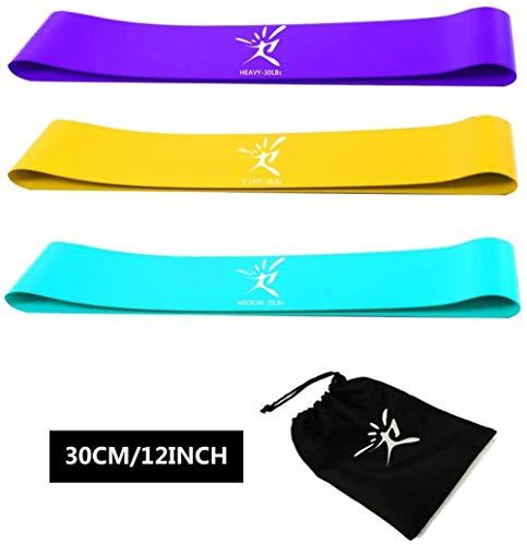 Resifit Banden van de Weerstand Set van 3 Loop Bands Oefenbanden for Yoga Therapy Training Crossfit Glutes Butt At Home & Gym, Kleur: geel, blauw, paars (Color : Yellow+Blue+Purple)