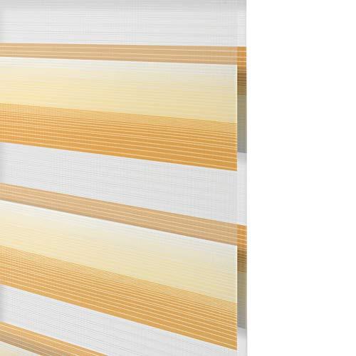 HAIPENG Impermeable Estor Enrollable, Doble Tejido Persiana por Ventana Habitación Cortina Baño Cocina, Opaco Día y Noche Protección UV y Sol, Degradado Amarillo (Color : A, Size : 120x200cm)