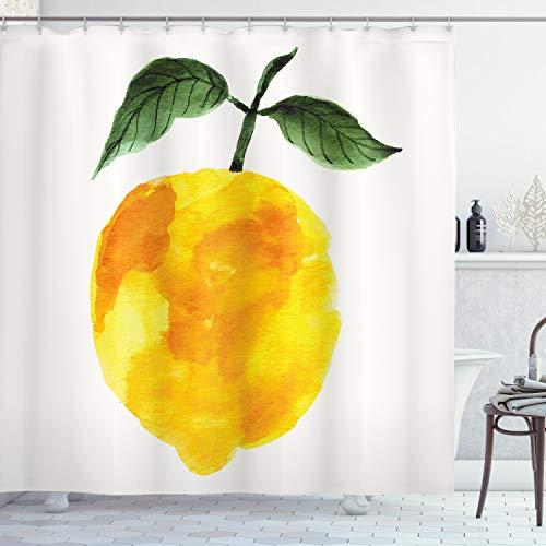 ABAKUHAUS Duschvorhang, Hand Gezeichnete Bemalte Zitrone Lemon Wasserfarbe Sommer Bio Lebensmittel Naturprodukt Druck, Blickdicht aus Stoff inkl. 12 Ringe für Das Badezimmer Waschbar, 175 X 200 cm