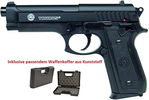 KS-11 Set: Taurus PT92 mit BAX System Softair Pistole mit Metal Slide - Stärke 0,5 Joule inklusive Waffenkoffer und Airsoft Premium 6mm BBS