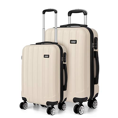 Kono 2 Piece Lightweight Travel Luggage Set ABS Hard Shell Carry on Luggage & Medium Checked Suitcase (Beige)