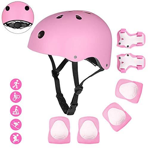Bigzzia - Juego de equipo de protección para casco de bicicleta para niños, ajustable, con certificación CE, rodilleras y coderas para niños, BMX monopatín, scooter, ciclismo (rosa)
