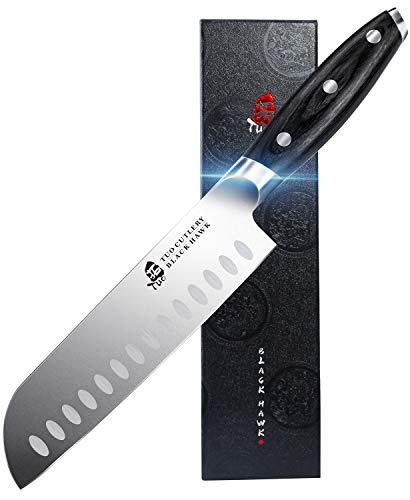 TUO Cuchillo Santoku 18cm-Cuchillos de Cocinero Japones-Cuchillos de Cocina Alemán de Acero Inoxidable-Asa Ergonómica con Caja de Regalo-Black Hawk Series