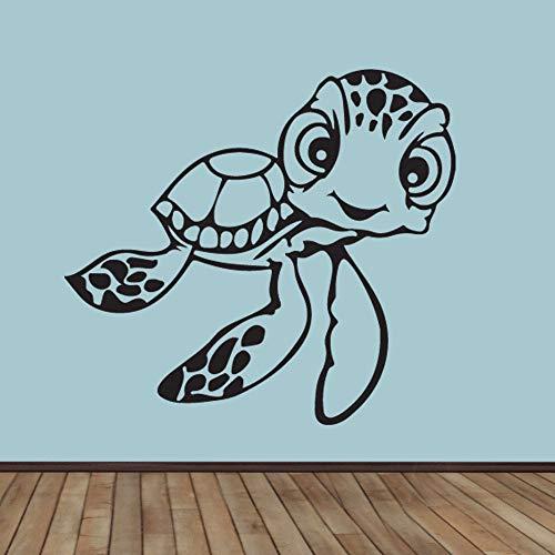 Tianpengyuanshuai raamstickers van vinyl met schildpad cartoon vriendlijke schildpad grappig voor kinderen slaapkamer kleuterschool decoratie vinyl