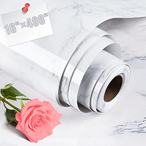AROIC 16' x 400' Marble Self-Adhesive Wallpaper, Granite Style, Gray / White, for KitchenTable Top, Cabinet Furniture Renovation, PVC , Waterproof, Oil Proof, Easy to Clean.