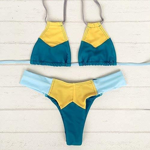 Wghz Bikini Maillot de Bain Trois Points de Plage épissé avec Cou, XL