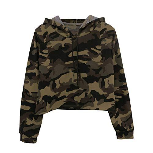 Army Green Camo bedrukt sweatshirt, hoodie, rokken, camouflage, lange mouwen, met capuchon, korte mouwen, dames-pullover, lente