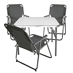Multistore 2002 4tlg. Campingmöbel Set Klapptisch, Aluminium, 75x55cm + 3X Campingstuhl, Stone/Strandmöbel…