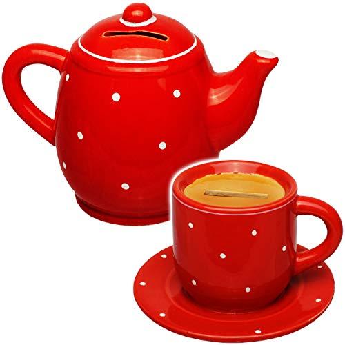 alles-meine.de GmbH 2 TLG. Set _ große Spardosen - Kaffeetasse / Teetasse + Kaffekanne - stabile Sparbüchse - aus Porzellan / Keramik - mit Verschluss - Sparschwein - für Kinder ..