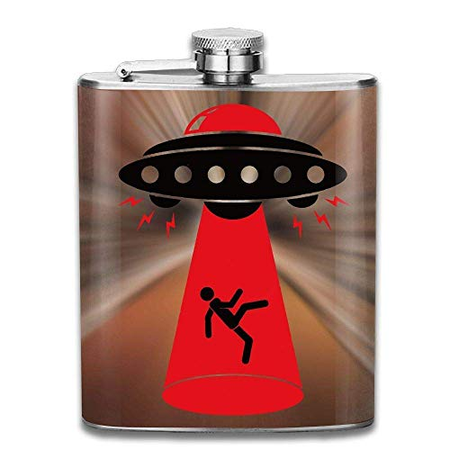 FGRYGF Alien Abduction Fashion Portable Stainless Steel Hip Flask Whiskey Bottle for Men and Women 7 Oz