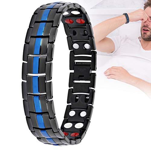 Pbzydu Pulsera magnética, Pulsera para Hombres, Alivio de la Fatiga Reducir el Dolor Cuidado Saludable Pulsera magnética (Negro Azul)
