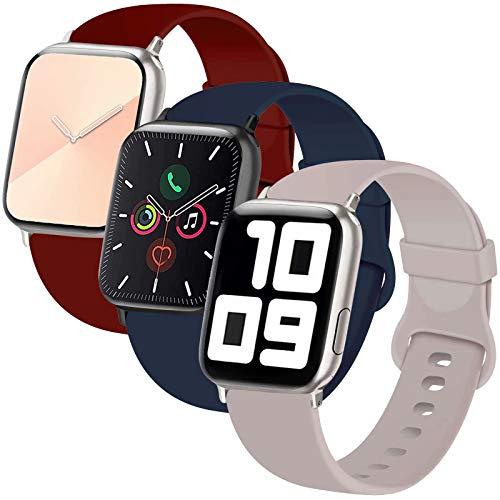 INZAKI Correa de Apple Watch 42mm 44mm, Reemplazo de Silicona Deportivo clásico Suave para iWatch Series 6/5/4/3/2/1, SE, Sport,S/M, Azul Noche/Wine Red/Gris