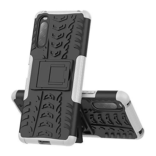 Ebogor para Para Sony Xperia 10  Estuche, Funda Protectora TPU + PC TPU + PC TPU de neumáticos con Soporte (Rojo) (Color : White)