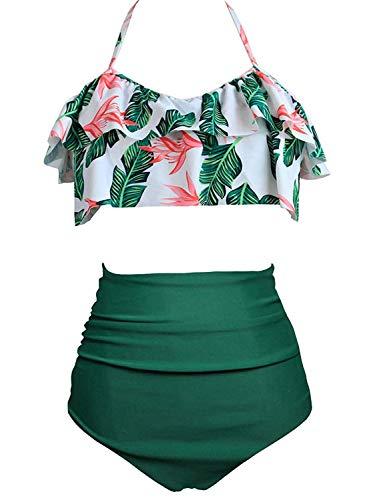 Amenxi Maillot de Bain Femme Taille Haute Volants Bikini Set 2 Pièces Dames Plus La Taille Beachwear (Feuille Bas Vert, EU 34-36 (S))