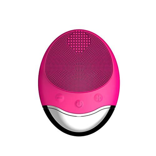 Pinceau Instrument de Nettoyage de Charge sans Fil Silicone Doux Exfoliant Doux Nettoyage en Profondeur de la Ceinture de Pores Instrument de beauté Liuyu. (Color : Rose Red)