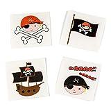 cama24com Piraten-Party Kinder-Tattoos 4 Motive 36 Stück Mitgebsel Gastgeschenke Partytüte mit Palandi® Sticker